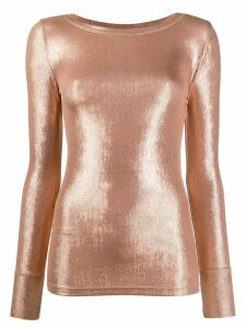 Pinko long sleeve metallic sheen top - GOLD