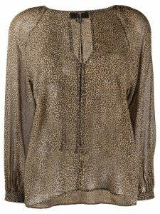 Nili Lotan micro-leopard print silk blouse - NEUTRALS