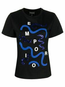 Emporio Armani wave logo-print T-shirt - Black
