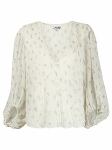 GANNI pleated georgette blouse - White