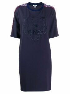 Kenzo logo-embroidered shift dress - Blue