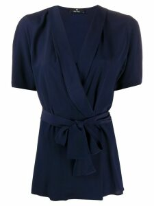 PS Paul Smith wrap front silk blouse - Blue