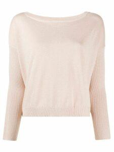 LIU JO glittery wide-neck jumper - PINK