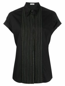 Brunello Cucinelli beaded-bib short sleeve shirt - Black