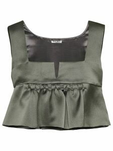 Miu Miu frill-trim cropped blouse - Grey