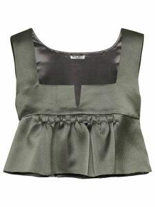 Miu Miu frill-trim cropped blouse - Grey