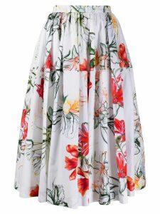Alexander McQueen floral print midi skirt - White
