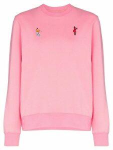 Kirin embroidered dancers cotton sweatshirt - PINK