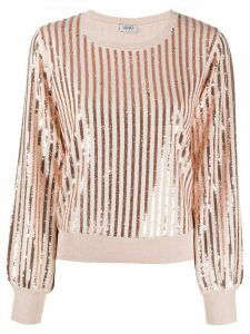 LIU JO sequin-embroidered crew neck jumper - PINK