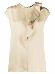 Giorgio Armani silk ruffle trim blouse - NEUTRALS