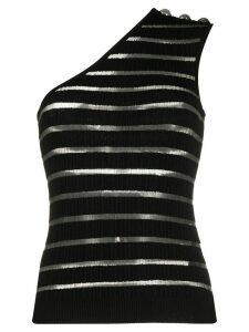 Balmain striped one-shoulder top - Black