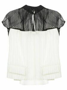 Sacai pleated sheer panel blouse - White