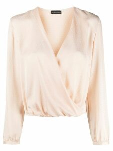 Emporio Armani wrap front silk blouse - NEUTRALS