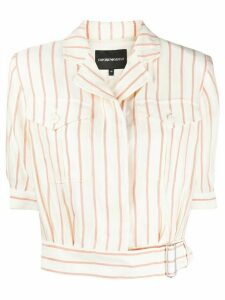 Emporio Armani striped cropped shirt - Red