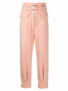 Patrizia Pepe belted straight trousers - PINK
