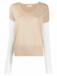 Ma'ry'ya two-tone knitted jumper - NEUTRALS