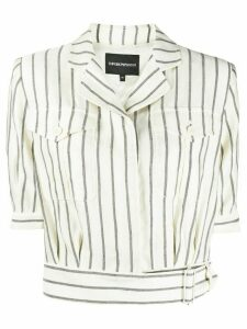 Emporio Armani striped cropped shirt - NEUTRALS