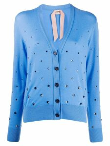 Nº21 crystal embellished cardigan - Blue