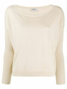 LIU JO ribbed panel jumper - NEUTRALS