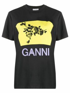 GANNI floral graphic logo T-shirt - Black
