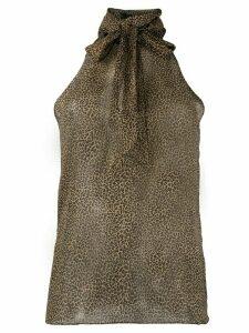 Nili Lotan micro-leopard print halterneck blouse - NEUTRALS