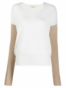 Ma'ry'ya two-tone knitted jumper - White