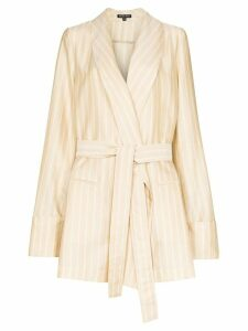 Ann Demeulemeester striped belted blazer - NEUTRALS