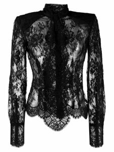Dolce & Gabbana pussy-bow fastening lace top - Black