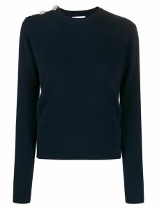 GANNI decorative button cashmere jumper - Blue