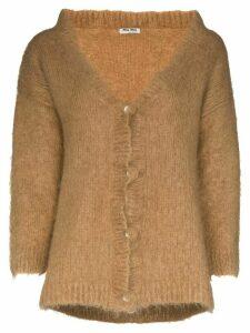 Miu Miu brushed mohair-blend cardigan - Brown