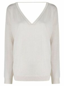 Brunello Cucinelli slouchy V-neck jumper - NEUTRALS