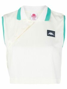 Kappa cropped sleeveless polo shirt - White