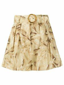 Zimmermann belted box-pleated shorts - NEUTRALS