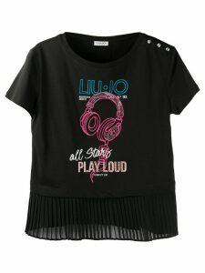 LIU JO headphone-print cotton T-shirt - Black