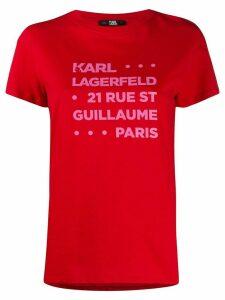 Karl Lagerfeld Address print T-shirt - Red