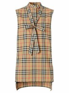 Burberry Vintage Check tie-neck shirt - NEUTRALS
