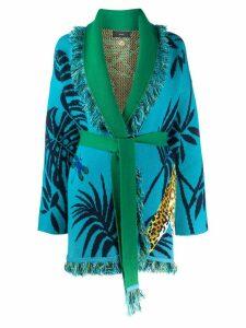 Alanui jaguar print cardigan - Blue