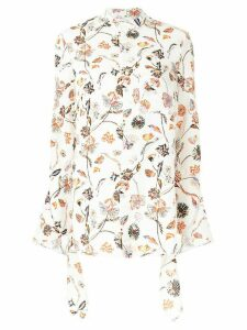 Roland Mouret Damara floral-print crepe shirt - White