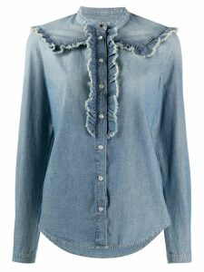 Golden Goose ruffle trimming denim shirt - Blue