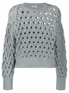 Brunello Cucinelli cable-knit crewneck jumper - Blue