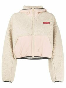 Pinko cropped fleece hoodie - NEUTRALS
