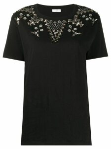 Sandro Paris embellished beaded T-shirt - Black