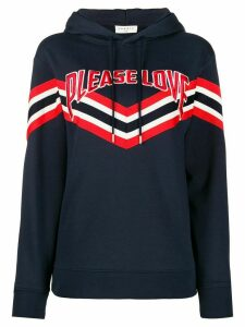Sandro Paris Please Love embroidered striped hoodie - Blue