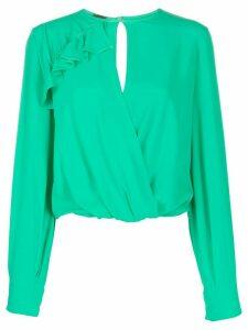 Pinko ruffle trim v-neck blouse - Green