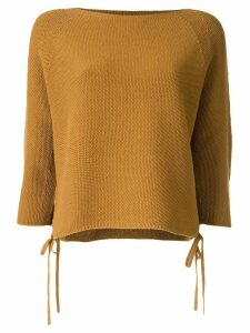 Tomorrowland lace-up textured-knit top - Yellow