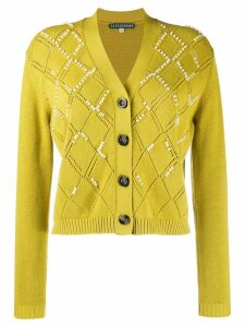 Alexa Chung faux pearl embellished cardigan - Green