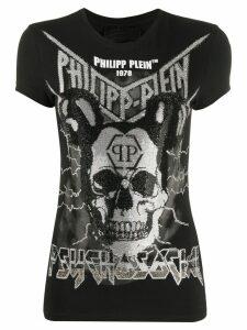 Philipp Plein rhinestone skull print T-shirt - Black