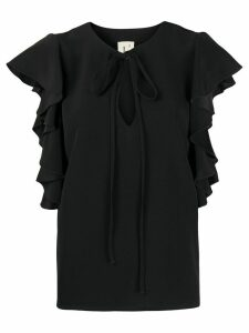 L'Autre Chose ruffled chiffon blouse - Black