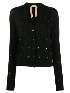 Nº21 crystal embellished cardigan - Black
