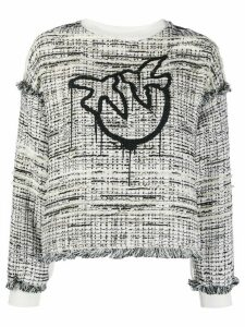 Pinko logo tweed sweatshirt - White